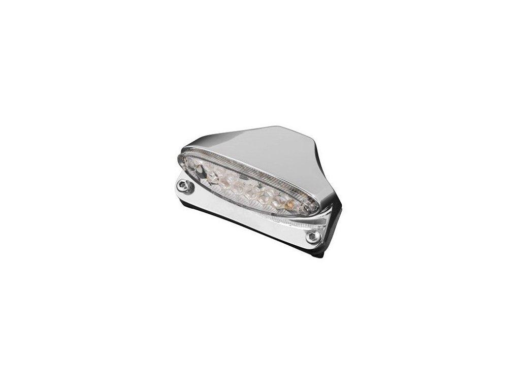 Koncové světlo na motorku Highway Hawk FENDER s držákem SPZ, LED, E-mark, chrom (1ks)