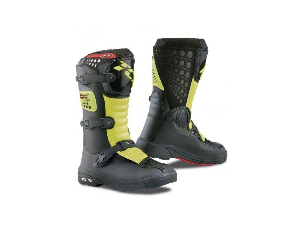847941b8a59 TCX COMP KID dětské motocrossové boty černo žlutá fluo - MotoNero.cz