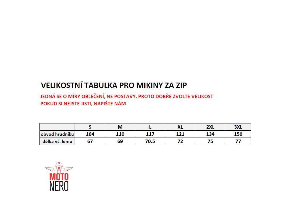 Prezentace14 tabulka velikostí mikiny na zip e11deba58b1