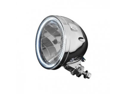 Hlavní světlo na motocykl Highway Hawk s obrysovým LED světlem (angle eyes), chrom, E-mark (1ks)