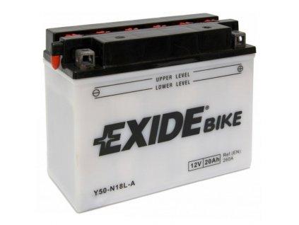 Baterie EXIDE E50-N18L-A, 12V 20Ah, za sucha nabitá s antisulfační úpravou. Náplň součástí balení.