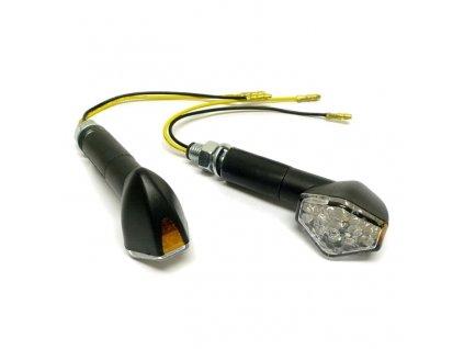 Moto blinkry Highway Hawk HEXAGON s dlouhou nožičkou, LED, E-mark, černá (2ks)
