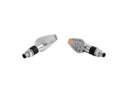 Moto blinkry Highway Hawk LED TRIANGLE s dlouhou nožičkou, LED, E-mark, chrom (2ks)