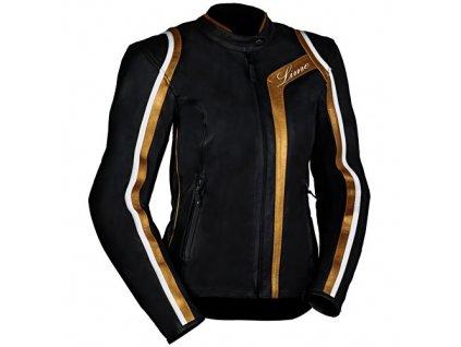 MBW GOLDIE dámská kožená moto bunda černo-zlatá