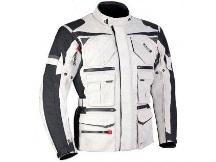 MBW ARON pánská textilní moto bunda sv. šedá černá
