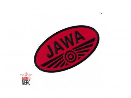 Nažehlovačka, nášivka s motivem JAWA 10 x 5,5 cm, červená