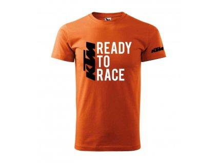 Pánské triko s motivem KTM - Ready to race 2, oranžové