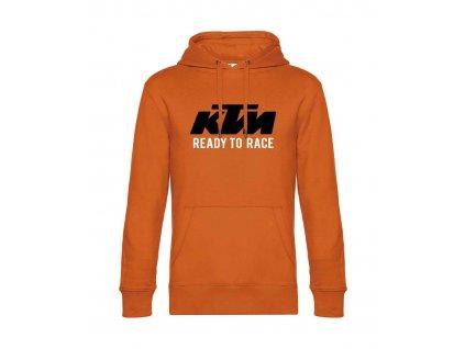 Pánská mikina s kapucí s motivem KTM Ready to race, oranžová