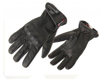 SPARK TROPO pánské letní kožené rukavice na motorku, černé
