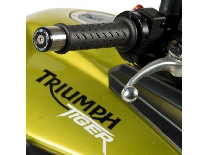Závaží RG Racing do řidítek pro motocykly TRIUMPH Tiger 800 (mimo verzi XC), černé (pár)