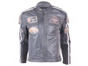 Kožená moto bunda BOS 2058 Vintage Grey