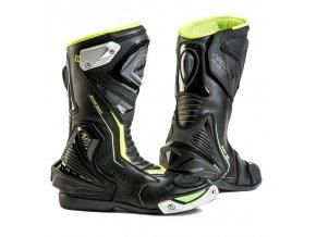 REBELHORN PISTON II pánské moto boty černé/fuo žlutá