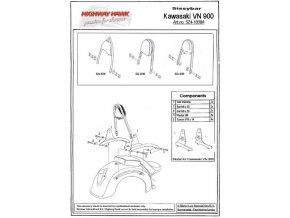 Montážní sada Highway Hawk ARCH, FLAT, WIDE pro motocykly KAWASAKI VN900 Vulcan/ Vulcan Classic/ Custom, černá