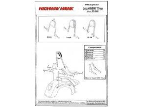 Montážní sada Highway Hawk ARCH, FLAT, WIDE pro motocykly Suzuki M800 Intruder ('10-), Boulevard M50 ('10-)