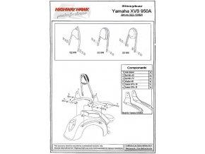 Montážní sada Highway Hawk ARCH, FLAT, WIDE pro motocykly YAMAHA XVS950 Midnight Star / V-Star 950, černá