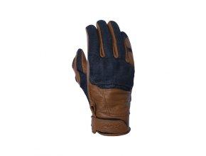 4SR CAFE LATTE moto rukavice z kůže a denimu