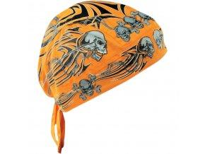 ZANHEADGEAR FLYDANNA HEADWRAPS Orange tribal skull - šátek na hlavu