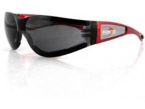 BOBSTER SHIELD II motocyklové brýle - kouřové sklo, červený rám