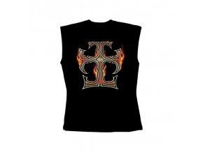 Pánské tričko bez rukávů - Flaming Iron Cross