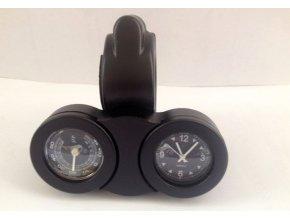 Moto hodiny s teploměrem na řídítka černé