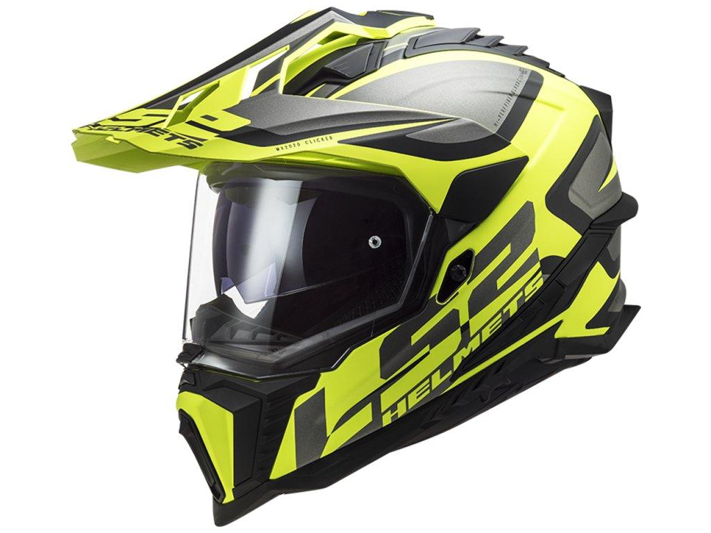 LS2 MX701 Explorer Alter Matt Black H V Yellow 1
