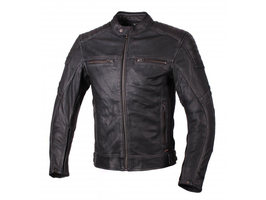 Chlapecká kožená moto bunda JTS Roco černo/šedá