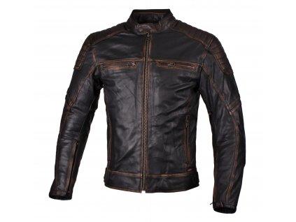 Chlapecká kožená moto bunda JTS Roco černo/hnědá