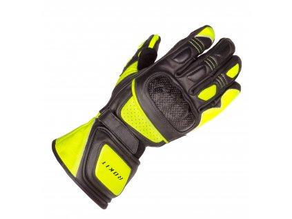 Moto rukavice Rokit Desmo černo/žluté