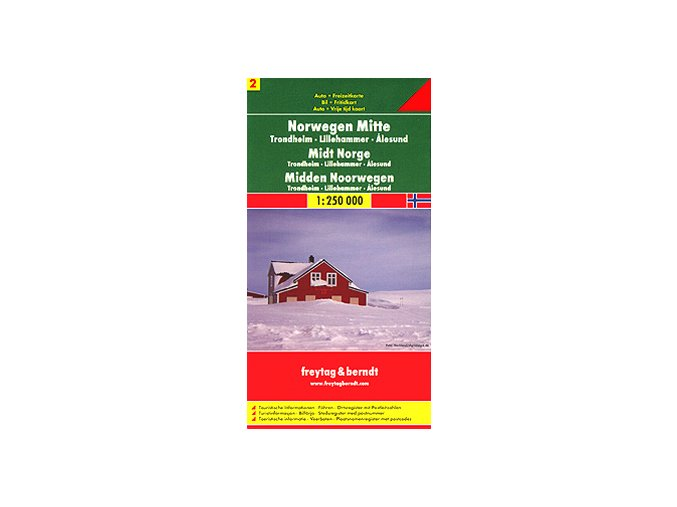 864 norsko stred 1 250 000 mapa s vyhlidkovymi trasami