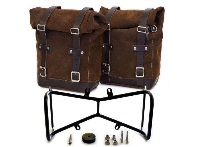 due borse laterali in crosta di cuoio doppio telaio simmetrico ninet 6