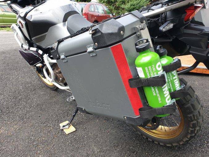 Držáky lahví BUMOT (1 nebo 2 lahve) (Konfigurace Držák 1 lahve - na pevno, Lahve na benzín Optimus Bez lahví na benzín)