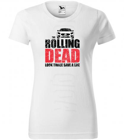 rolling dead damske moto tricko kratky rukav biele