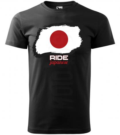 ride japanese panske moto tricko kratky rukav cierne