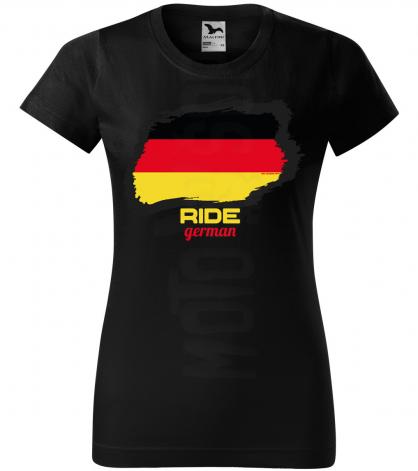 ride german damske moto tricko kratky rukav cierne