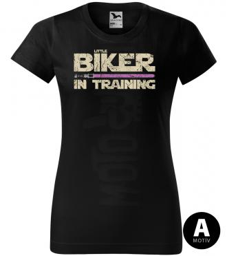 biker in training pink sword damske moto tricko kratky rukav cierne