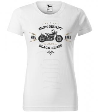 iron heart black blood bikers damske moto tricko kratky rukav biele