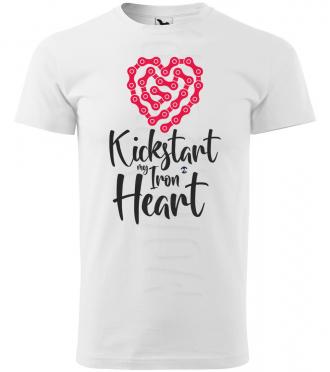 kickstart my iron heart panske moto tricko kratky rukav biele