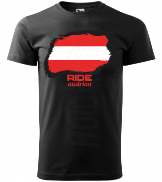 ride austrian panske moto tricko kratky rukav cierne