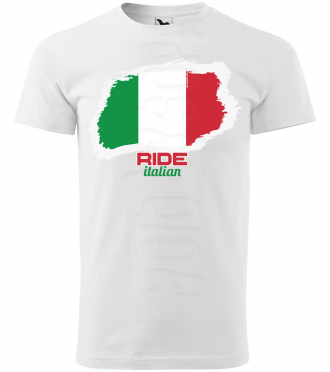 ride italian panske moto tricko kratky rukav biele