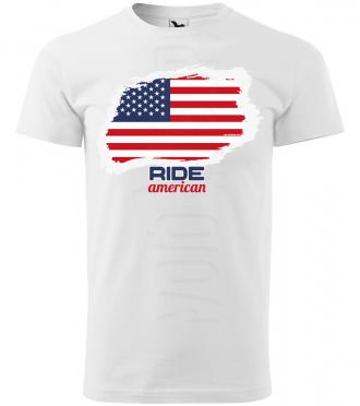ride american panske moto tricko kratky rukav biele
