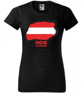 ride austrian damske moto tricko kratky rukav cierne