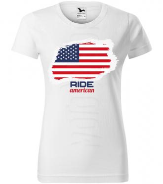 ride american damske moto tricko kratky rukav biele