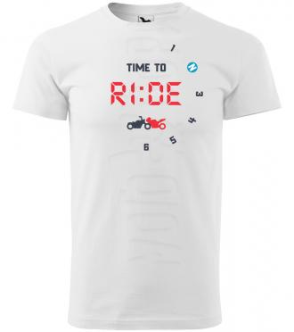 time to ride panske moto tricko kratky rukav biele