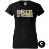biker in training yellow sword damske moto tricko kratky rukav cierne