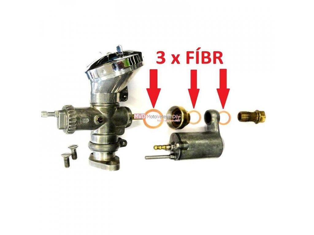 Sada FÍBRŮ pro přetěsnění karburátoru - Pérák, J500, všechny 2924 H a Čz 125/150 C,  - 3. KUSY