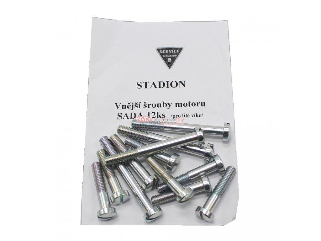 Šrouby motoru pohledové Stadion, Jawetta - pro lité hliníkové víko - (12 ks)