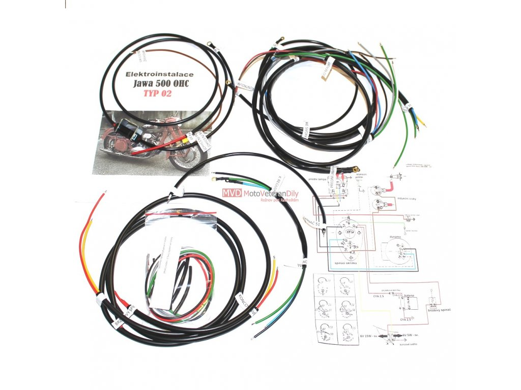 Kabeláž Jawa 500 OHC - typ 02