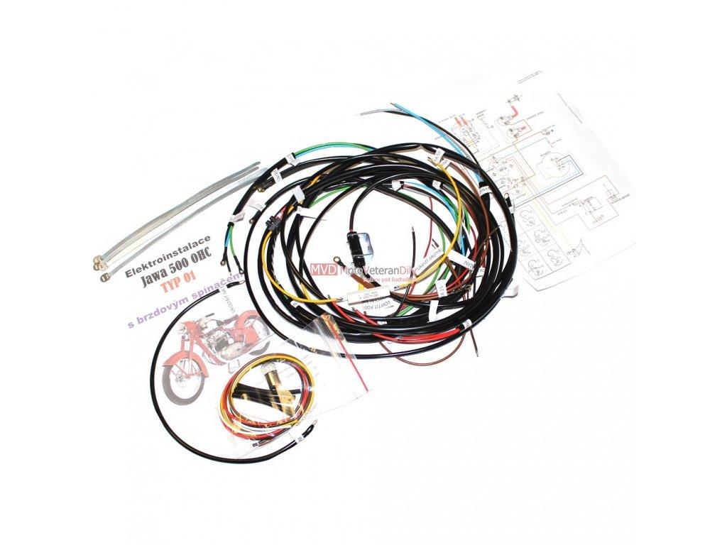 Kabeláž Jawa 500 OHC - typ 01 s přípravou pro brzdový spínač