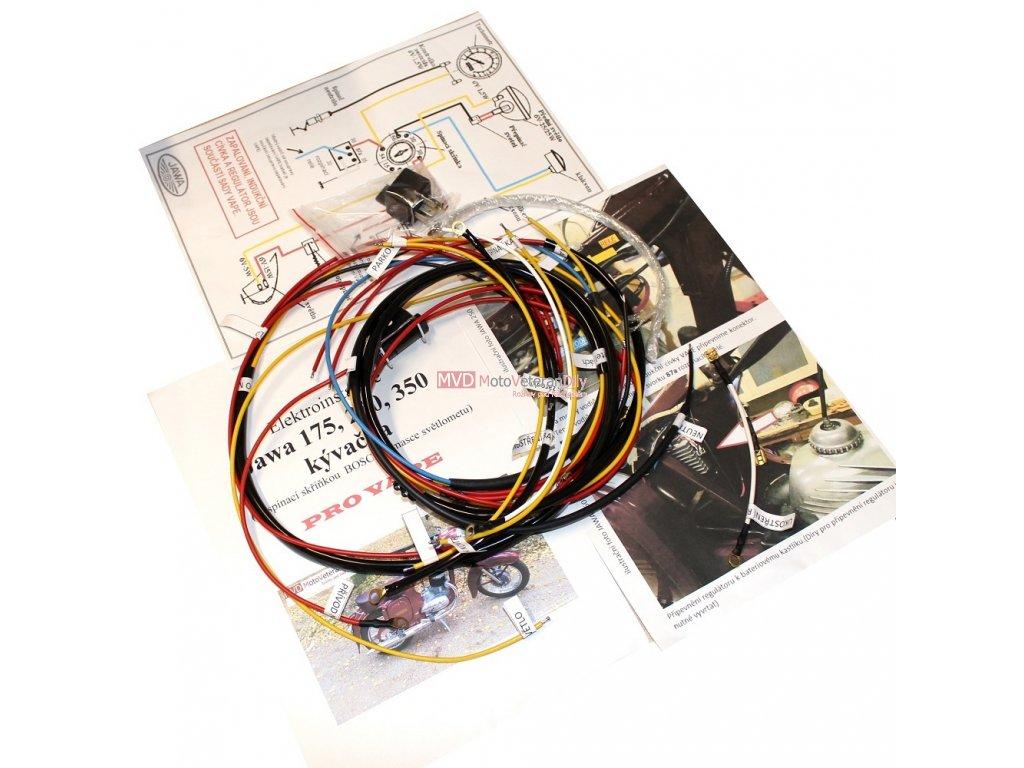 Kabeláž Jawa-ČZ 125, 175, 250, 350 pro VAPE se spínačkou BOSCH v masce světla