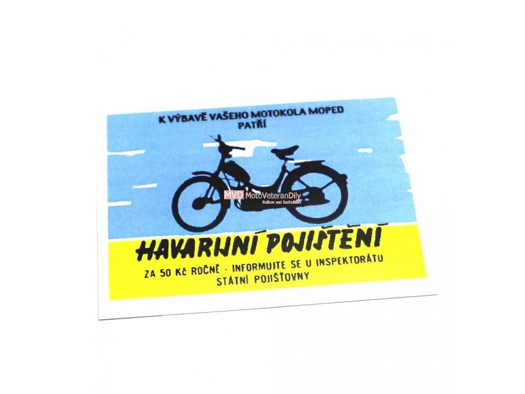 Kartička k mopedu - lesklý,lakovaný,tvrzený papír